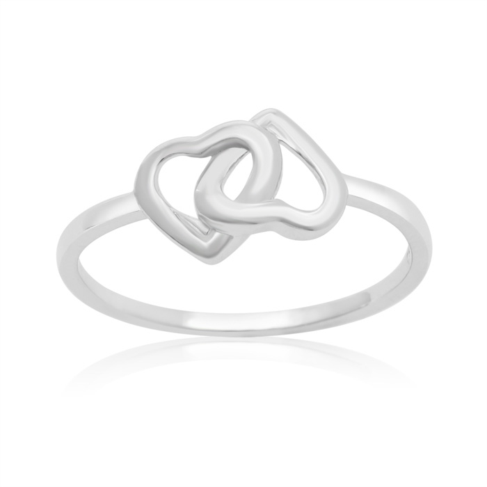 Sterling Silver Two Hearts Become One Ring