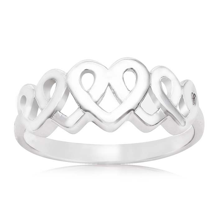 Sterling Silver Interlocking Hearts Ring