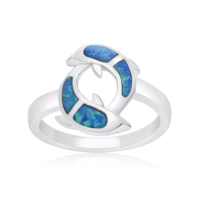 Sterling Silver Blue Opal Double Dolphin Ring