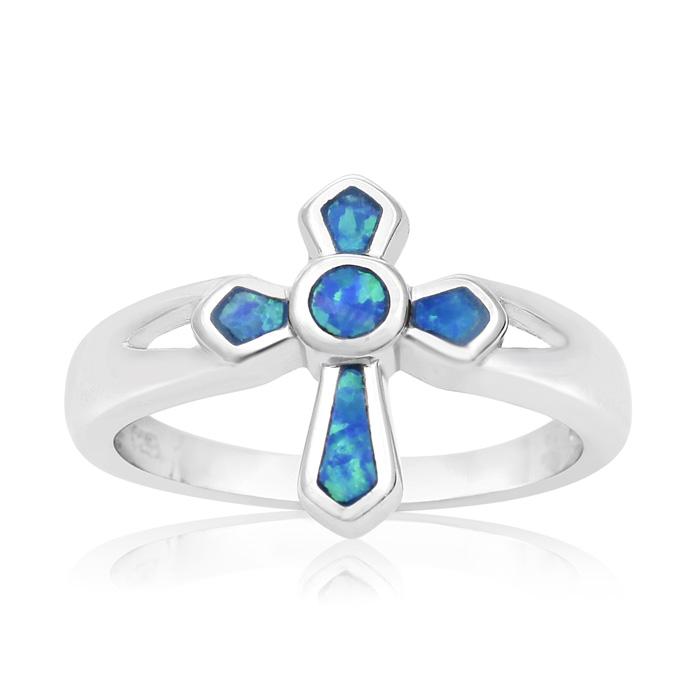 Sterling Silver Blue Opal Cross Ring