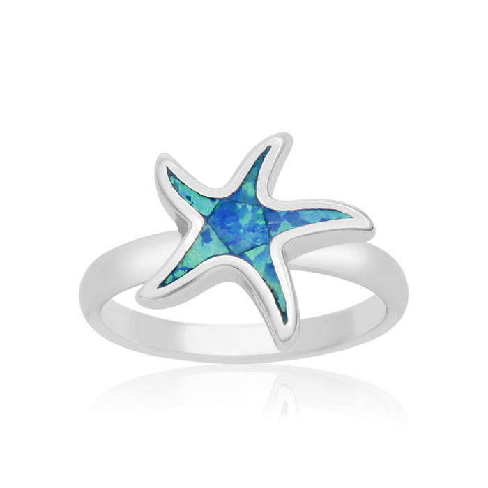 Sterling Silver Blue Opal Starfish Ring
