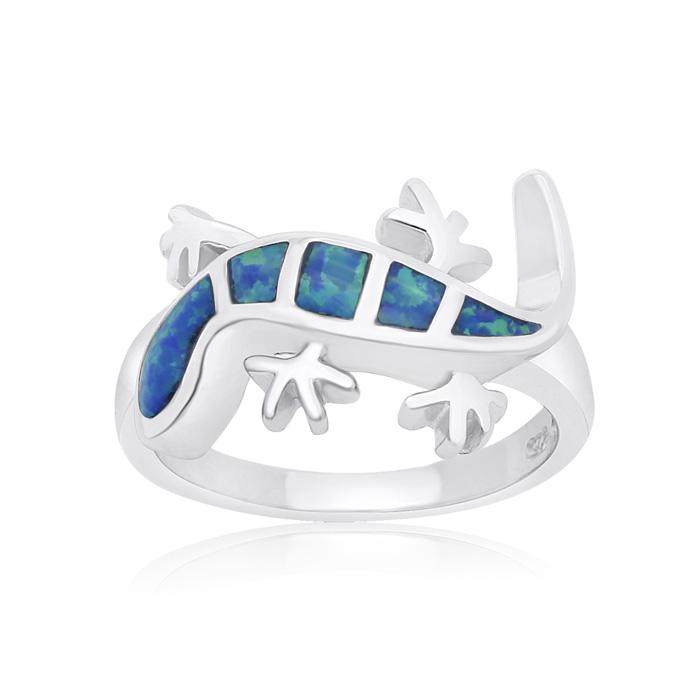 Sterling Silver Blue Opal Lizard Ring