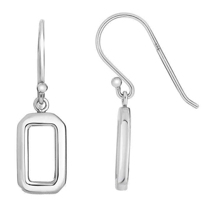 Sterling Silver Open Rectangle Dangle Earrings