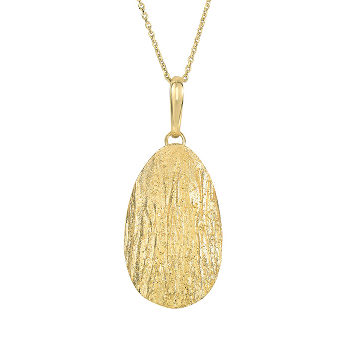 14 Karat Yellow Gold Over Sterling Silver Stardust Oval Pendant Necklace, 18 Inches