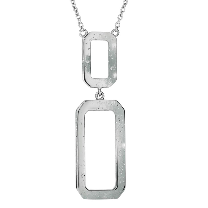 Sterling Silver Dangling Stardust Rectangular Necklace, 18 Inches
