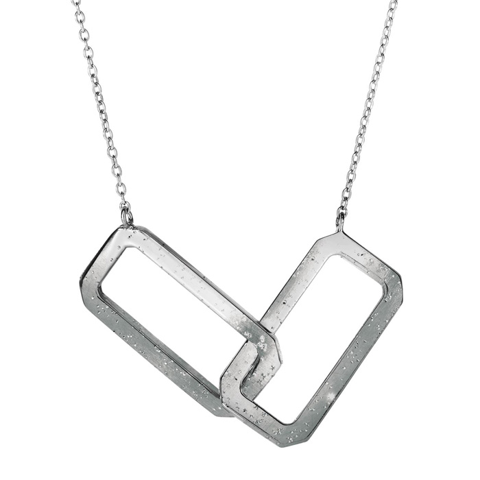 Sterling Silver Interlocking Stardust Rectangle Necklace, 18 Inches