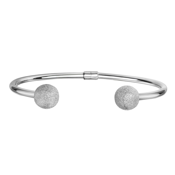 Sterling Silver Double Stardust Bead Open Bangle