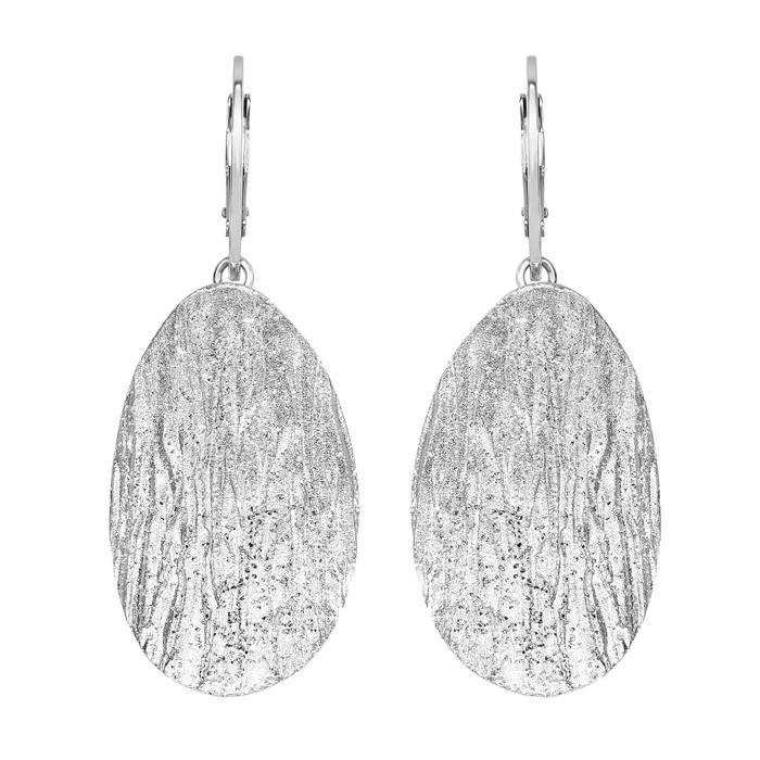 Sterling Silver Stardust Oval Pendant Earrings
