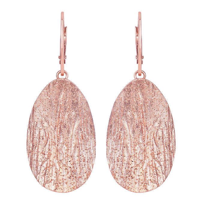 14 Karat Rose Gold Over Sterling Silver Stardust Oval Pendant Earrings