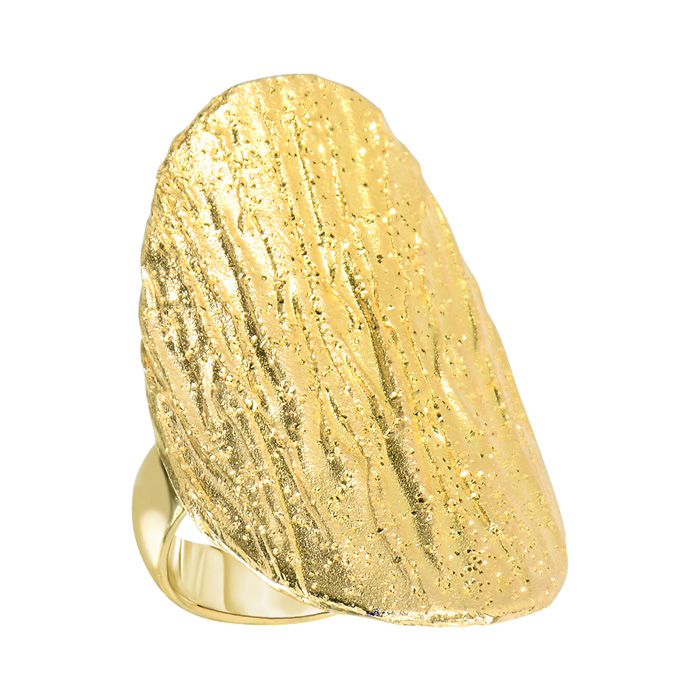 14 Karat Yellow Gold Over Sterling Silver Stardust Oval Statement Ring
