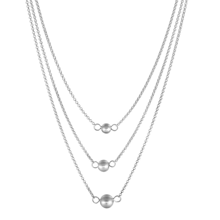 Sterling Silver Triple Ball And Chain Necklace, 16 Inches