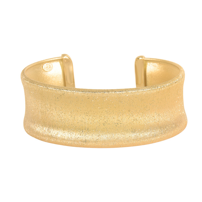 14 Karat Yellow Gold Over Sterling Silver Stardust Stylish Cuff