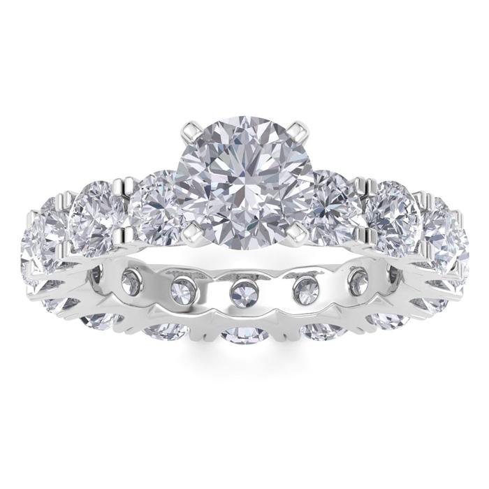 14 Karat White Gold 4 3/4 Carat Diamond Eternity Engagement Ring With 1 1/2 Carat Round Brilliant Center
