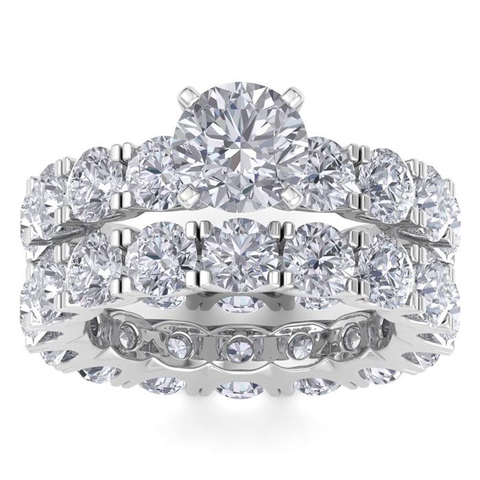 14 Karat White Gold 8 1/2 Carat Diamond Eternity Engagement Ring With Matchi..
