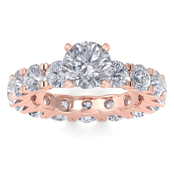 14 Karat Rose Gold 5 1/4 Carat Diamond Eternity Engagement Ring With 1 1/2 Carat Round Brilliant Center
