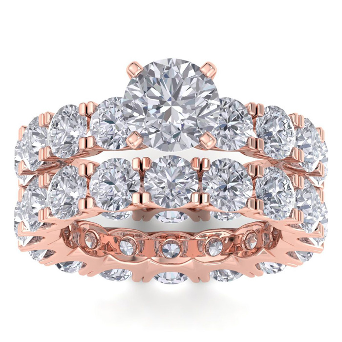 14 Karat Rose Gold 8 3/4 Carat Diamond Eternity Engagement Ring With Matching Band