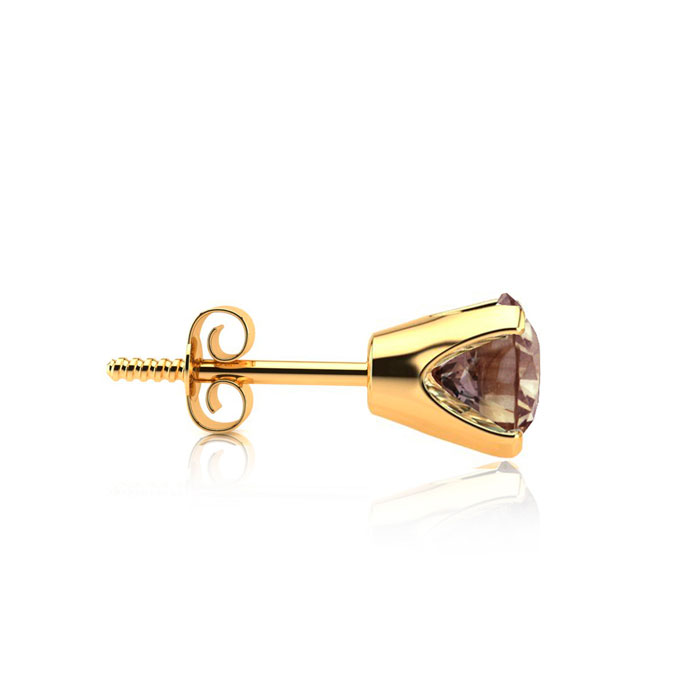 3/4ct Chocolate Bar Brown Champagne Diamond Stud Earrings in 14k Yellow Gold  SINGLE STUD ONLY