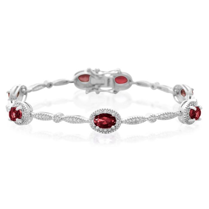 5 Carat Garnet and Diamond Bracelet, Platinum Overlay, 7 Inches