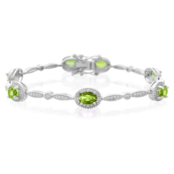 5 Carat Peridot and Diamond Bracelet, Platinum Overlay, 7 Inches