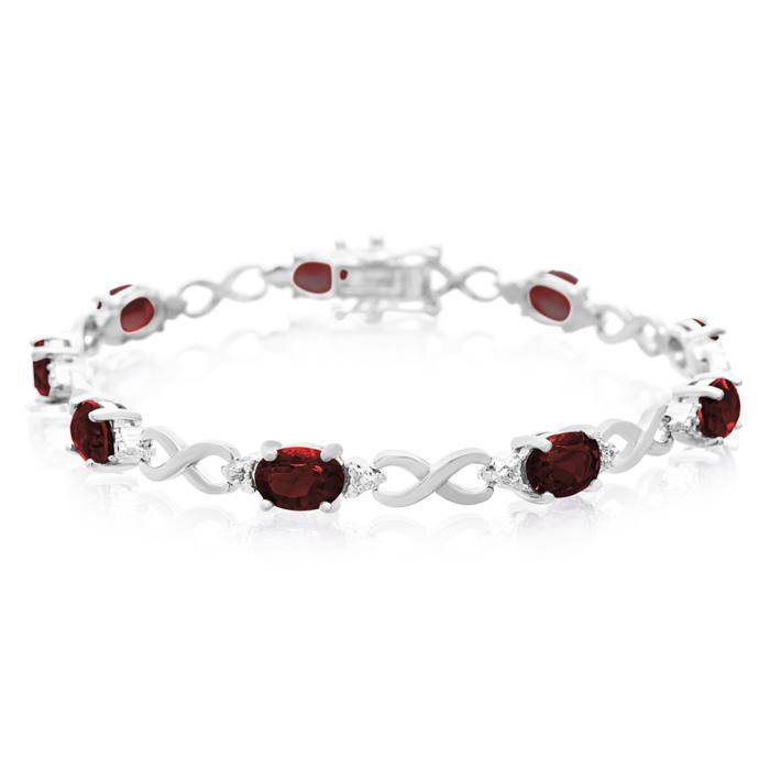 11 Carat Garnet and Diamond Bracelet, Platinum Overlay, 7 Inches