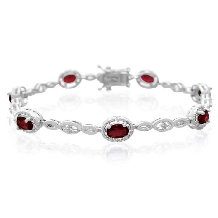 5 Oval Shape Carat Garnet and Diamond Bracelet, Platinum Overlay, 7 Inches