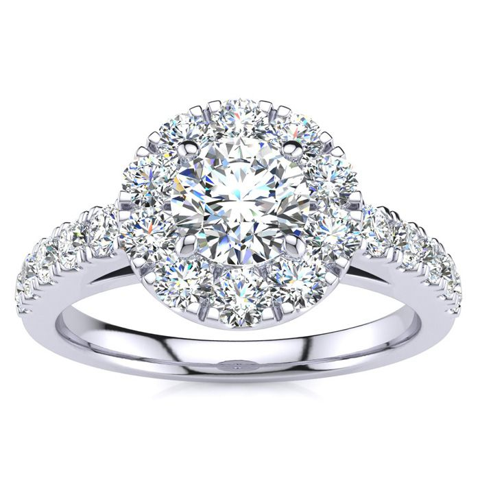 14 Karat White Gold 1 Carat Classic Round Halo Diamond Engagement Ring