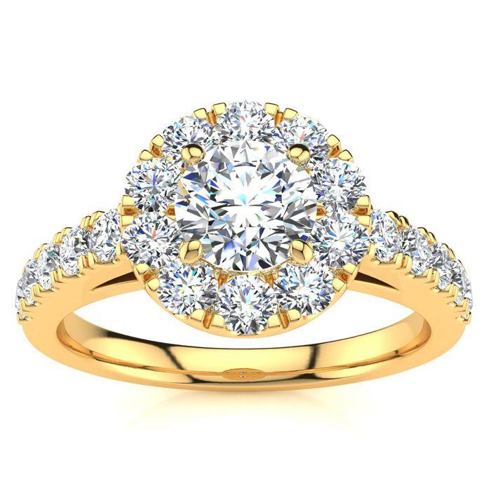 14 Karat Yellow Gold 1 Carat Classic Round Halo Diamond Engagement Ring