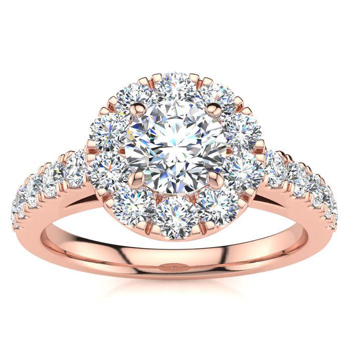 14 Karat Rose Gold 1 Carat Classic Round Halo Diamond Engagement Ring