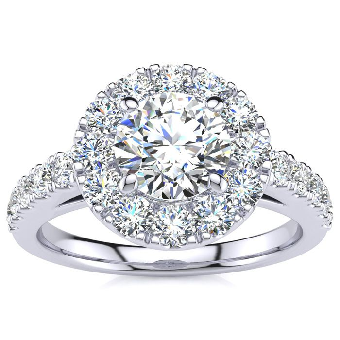 14 Karat White Gold 1 1/3 Carat Classic Round Halo Diamond Engagement Ring