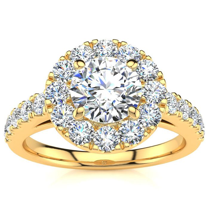 14 Karat Yellow Gold 1 1/3 Carat Classic Round Halo Diamond Engagement Ring