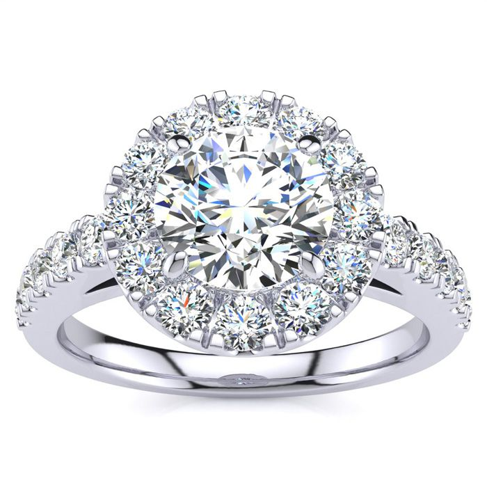 14 Karat White Gold 1 1/2 Carat Classic Round Halo Diamond Engagement Ring
