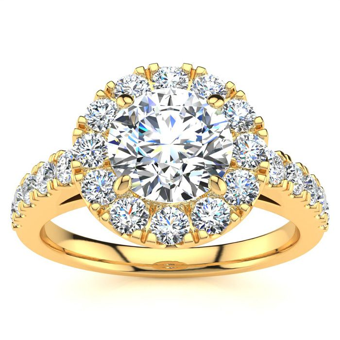 14 Karat Yellow Gold 1 1/2 Carat Classic Round Halo Diamond Engagement Ring