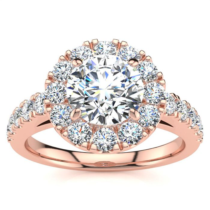 14 Karat Rose Gold 1 1/2 Carat Classic Round Halo Diamond Engagement Ring