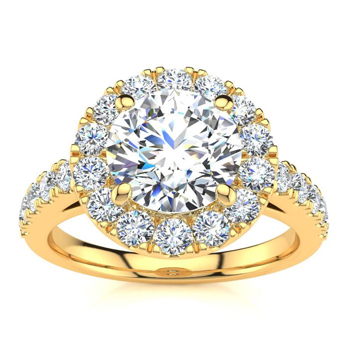 14 Karat Yellow Gold 2 1/4 Carat Classic Round Halo Diamond Engagement Ring