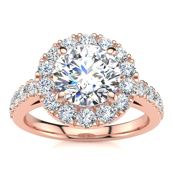 14 Karat Rose Gold 2 1/4 Carat Classic Round Halo Diamond Engagement Ring