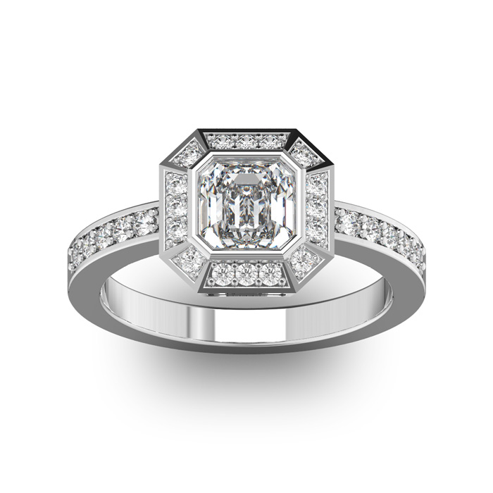 14 Karat White Gold 1 1/3 Carat Asscher Cut Halo Diamond Engagement Ring.  Just like Pippa Middleton