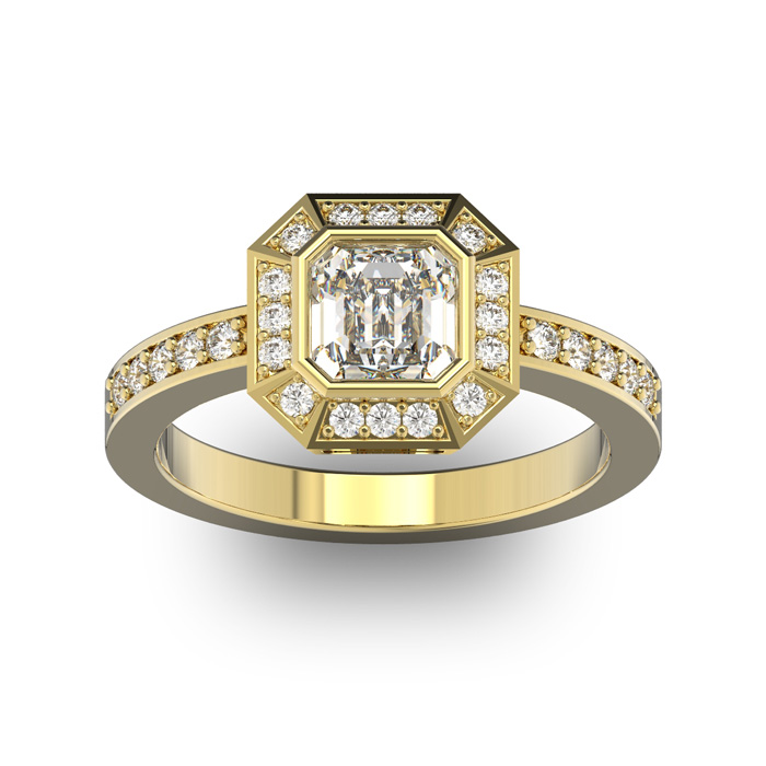 14 Karat Yellow Gold 1 1/3 Carat Asscher Cut Halo Diamond Engagement Ring.  Just like Pippa Middleton