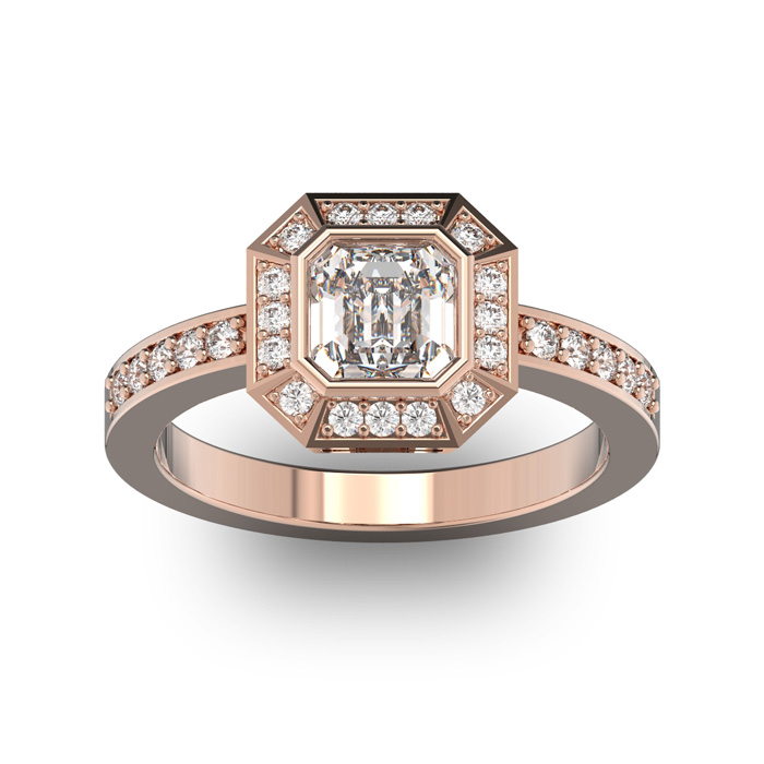 14 Karat Rose Gold 1 1/3 Carat Asscher Cut Halo Diamond Engagement Ring.  Just like Pippa Middleton