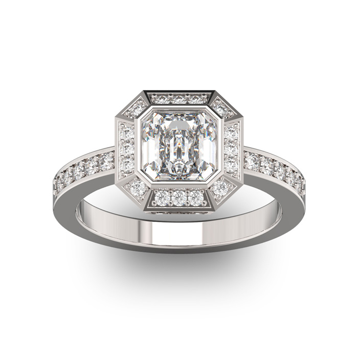 14 Karat White Gold 1 3/4 Carat Asscher Cut Halo Diamond Engagement Ring.  Just like Pippa Middleton