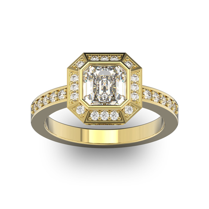 14 Karat Yellow Gold 1 3/4 Carat Asscher Cut Halo Diamond Engagement Ring.  Just like Pippa Middleton