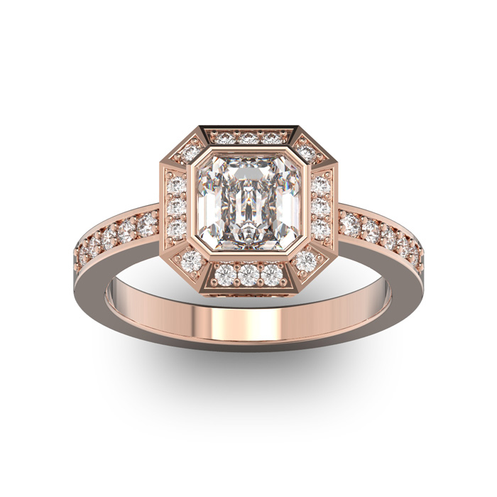 14 Karat Rose Gold 1 3/4 Carat Asscher Cut Halo Diamond Engagement Ring.  Just like Pippa Middleton