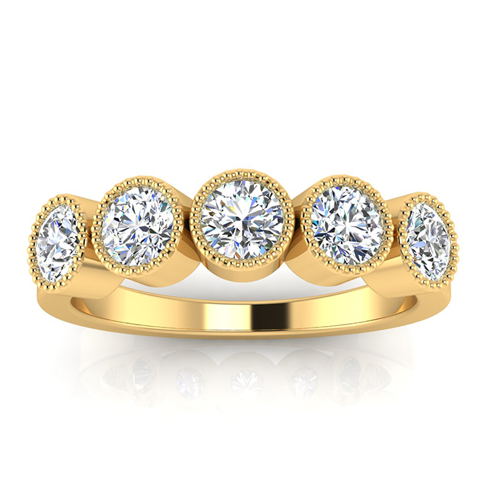 1ct Five Diamond Bezel Set Band in 14k YELLOW  Gold. Closeout!