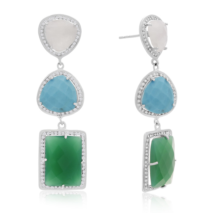 20 Carat Multi Gemstone Dangle Earrings In Sterling Silver