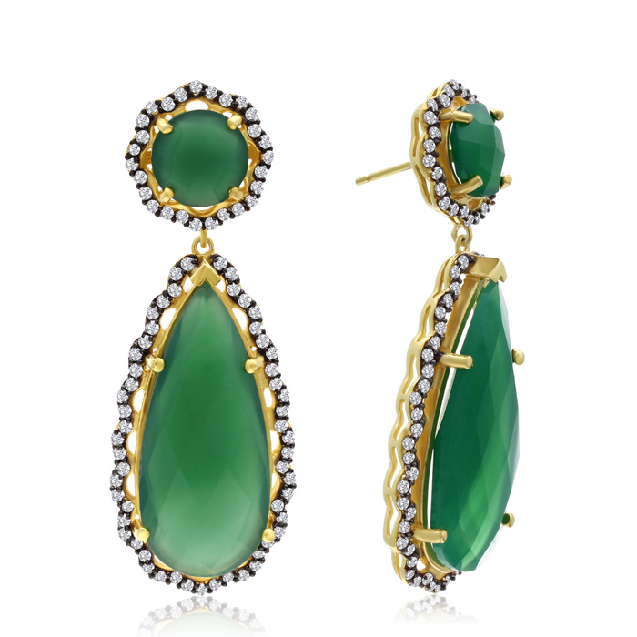40 Carat Emerald and Simulated Diamond Teardrop Earrings In 14K Yellow Gold