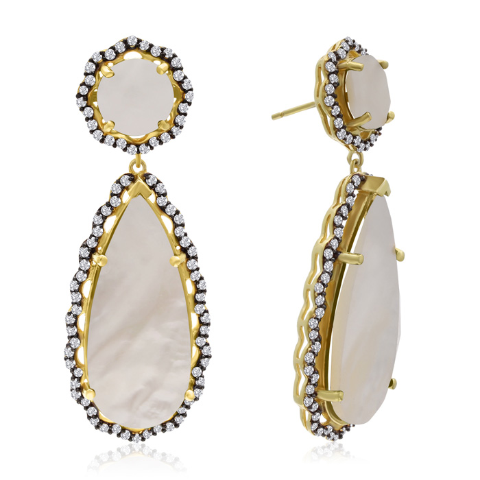 40 Carat Mother of Pearl and Simulated Diamond Teardrop Earrings In 14K Yellow Gold