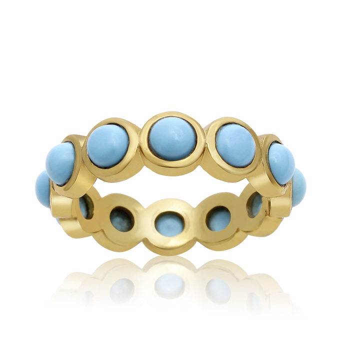 10 Carat Turquoise Eternity Ring In 14K Yellow Gold