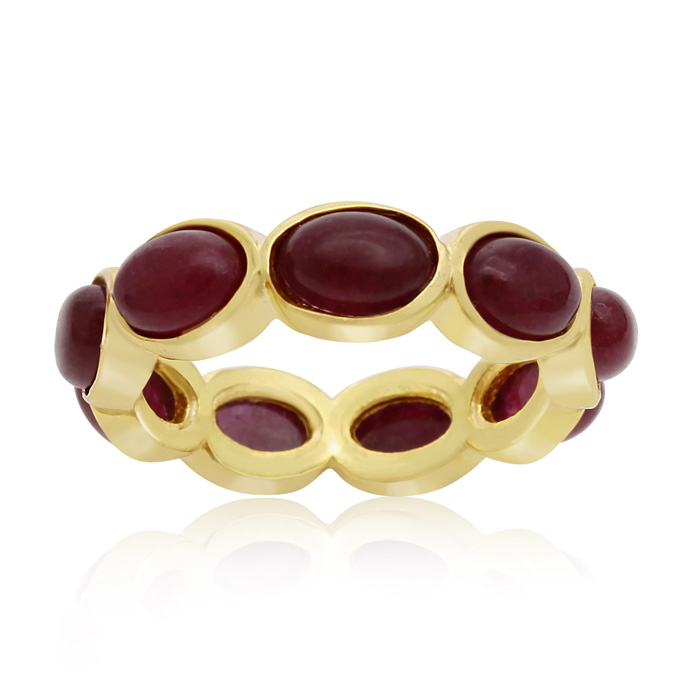 10 Carat Ruby Eternity Ring In 14K Yellow Gold