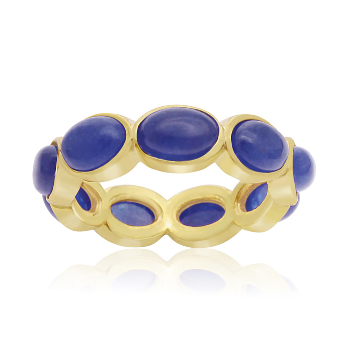 10 Carat Blue Sapphire Eternity Ring In 14K Yellow Gold