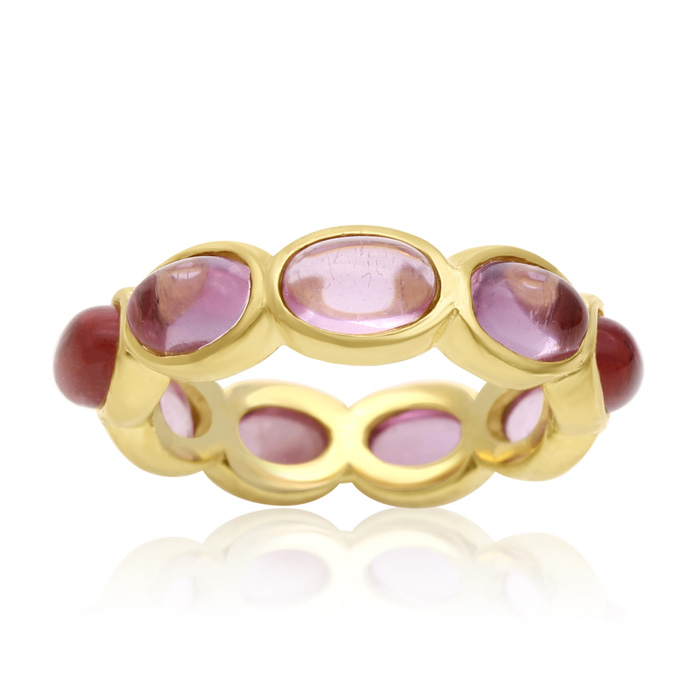 10 Carat Raspberry Quartz Eternity Ring In 14K Yellow Gold