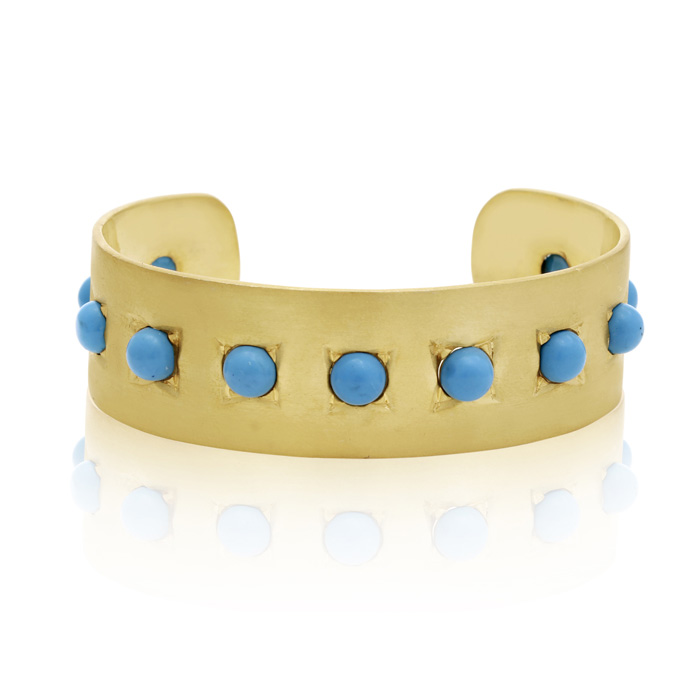 11 Carat Turquoise Cuff Bangle In 14K Yellow Gold